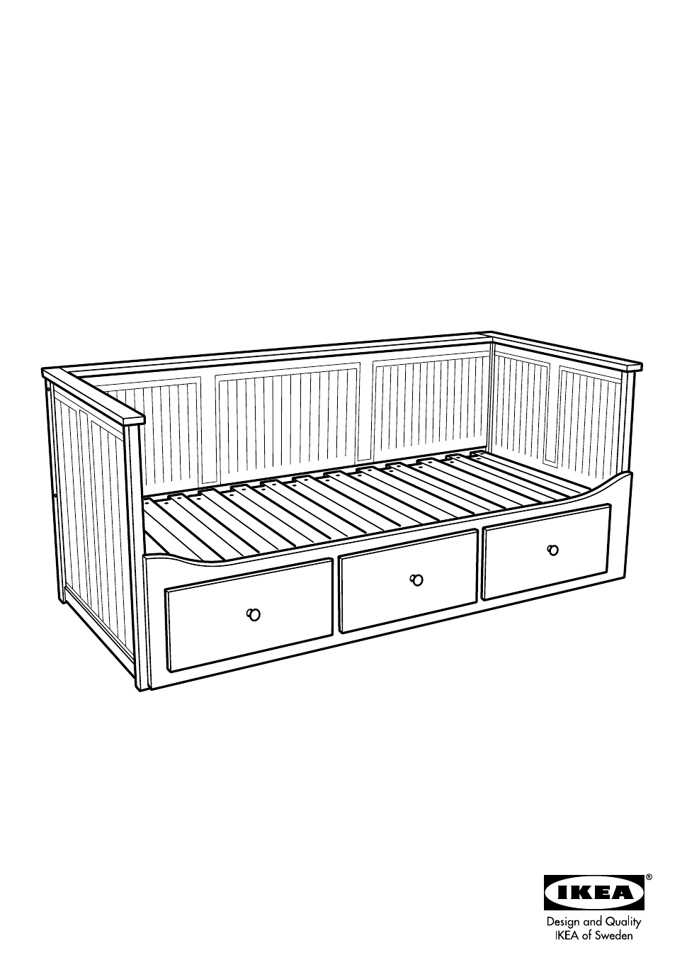 IKEA HEMNES DAY BED W/ 3 DRAWERS Manual